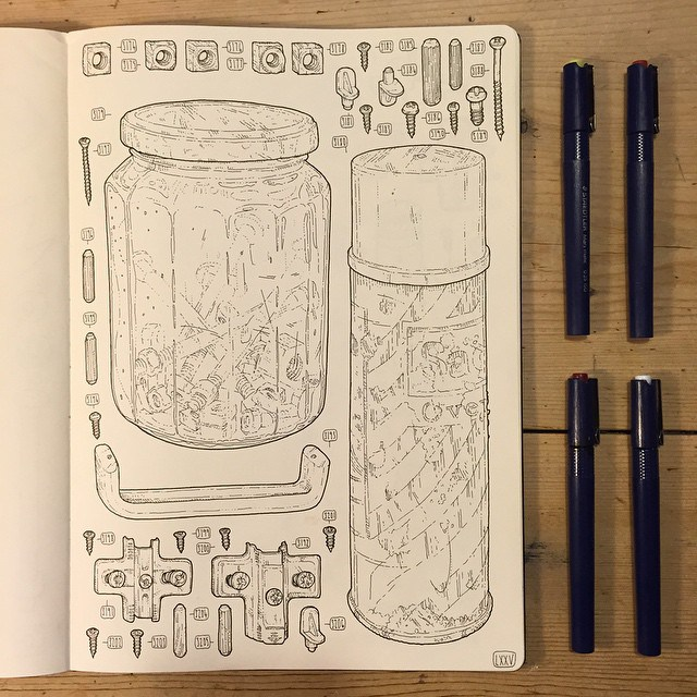 pens and pad